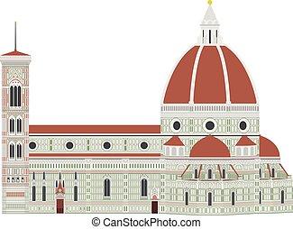 Santa Maria dei Fiore, Florence, Italy. Isolated on white...