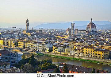 santa maria del fiore, és, arno folyó, közül, firenze, toszkána, olaszország