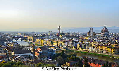 Santa Maria del Fiore and Arno River of Florence, Tuscany, Italy