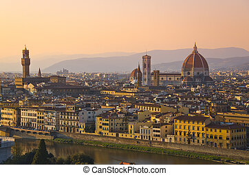 Santa Maria del Fiore and Arno River of Florence, Tuscany, Italy
