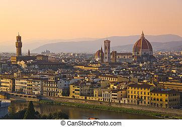 santa maria del fiore, en, arno rivier, van, florence, tuscany, italië