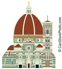 Santa Maria del Fiore, Florence, Italy. Vector art.