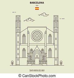 Santa Maria del Mar in Barcelona, Spain. Landmark icon in linear style