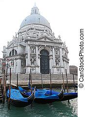 Santa Maria della Salute Basilica in Venice at fog