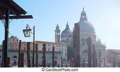 Santa Maria della Salute church in Venice and mooring poles...