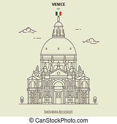 Santa Maria della Salute church in Venice, Italy. Landmark icon in linear style