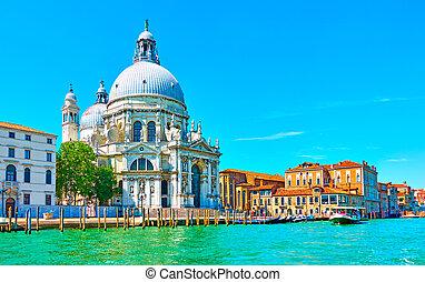 Santa Maria della Salute church in Venice on sunny summer ...