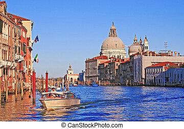 Santa Maria Della Salute, Church of Health, Grand canal Venice Italy in the evening