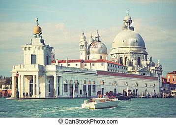Santa Maria della Salute church on Grand Canal in Venice, ...