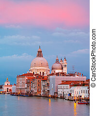 Basilica of Santa Maria della Salute at sunset, Venice