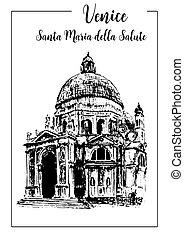 Santa Maria della Salute. Venice. vector sketch