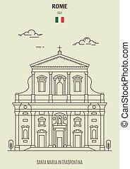 Santa Maria in Traspontina, Rome, Italy. Landmark icon in linear style