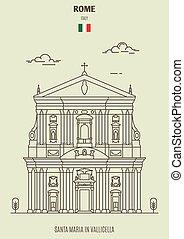 Santa Maria in Vallicella in Rome, Italy. Landmark icon in linear style