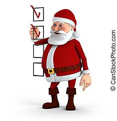Santa marking a checklist - Cartoon Santa Claus marking a...