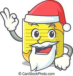 Santa mascot note paper with bookmark