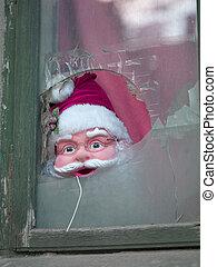 santa mask on window in bucharest romania