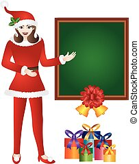 santa, menina, chalkboard, ilustração