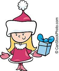 santa, menina, claus, caricatura, ilustração