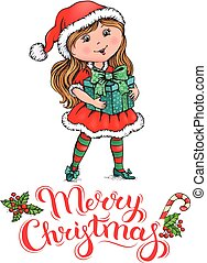 santa, menina, claus, cartão natal
