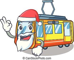 santa, miniatura, treno elettrico, in, cartone animato,...