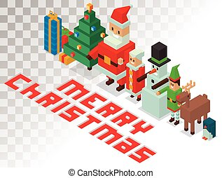 Santa, Missis Claus, helpers family isometric 3d icons...