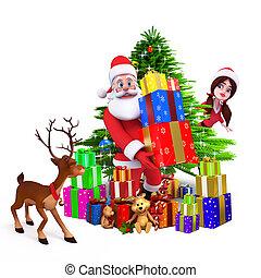 santa, mit, weihnachtsbaum, und, geschenke