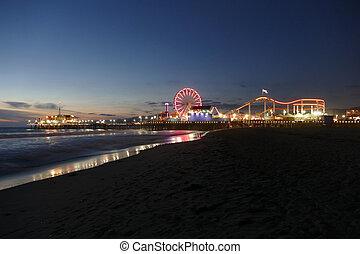 Santa Monica Beach and Pier Night