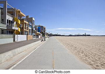 Santa Monica beach, bike path and pier.
