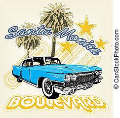 Santa Monica boulevard - illustration for shirt printed and ...