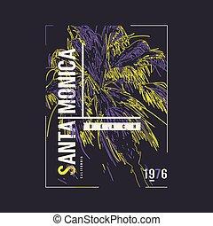 Santa Monica California vector graphic t-shirt design, ...