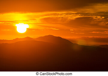 Santa Monica Mountains Sunset - Setting sun behind the Santa...
