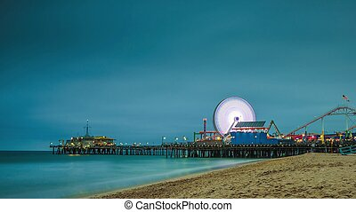 Santa Monica Pier at night in Los Angeles, California