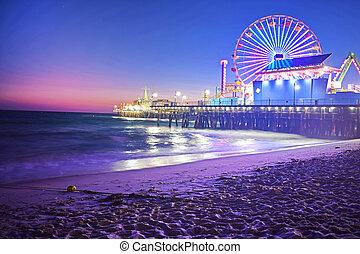 Santa Monica Pier at Night - Santa Monica Pier and Ferris ...
