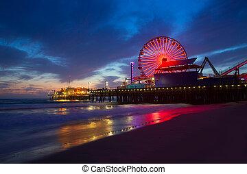 santa monica, tramonto california, su, banchina, ferrys, ruota