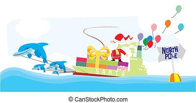 santa, montando, um, navio recipiente