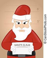 Santa Mugshot - Criminal Santa Claus getting mugshot vector...