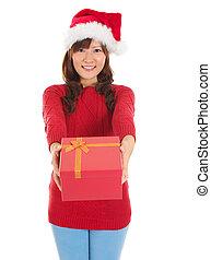 santa, mujer felíz, dar, regalo de navidad, caja