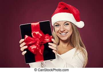 santa, mujer, regalo, tableta, digital