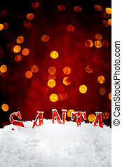 Santa name in the snow with bokeh background vertical