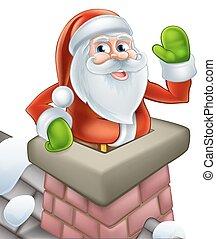 santa, natal, chaminé, caricatura
