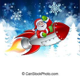 santa, natal, foguete, caricatura