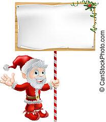 santa, natal, ilustração, sinal