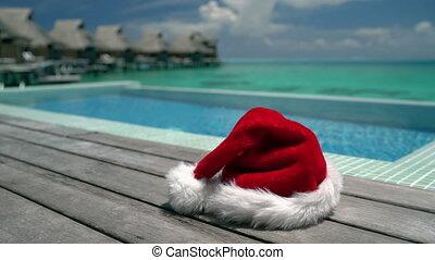 santa, -, natation, noël, plage, piscine, fond, vacances, ...