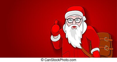 Santa new style on red background template greeting card....