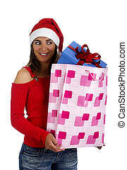 santa, niña, con, regalos