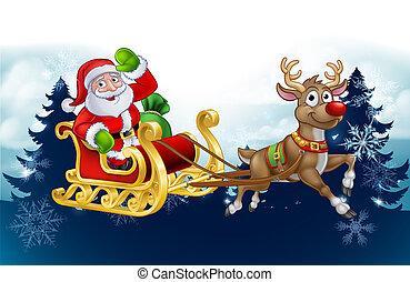 santa, noël, renne, fond, traîneau, dessin animé