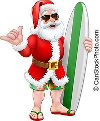 santa, nuances, shaka, dessin animé, planche surf, ressac