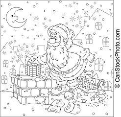 Santa on a housetop - The night before Christmas, Santa ...