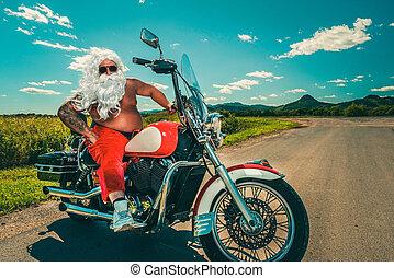 Santa on a motorcycle