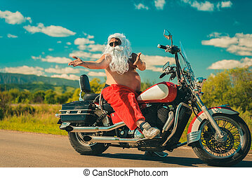Santa on a motorcycle